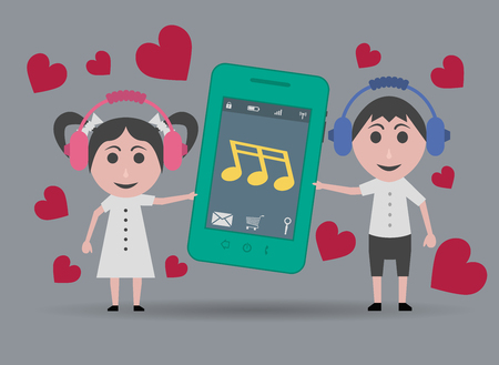 boy at phone: girl and boy listening to romantic music on the mobile phone Illustration
