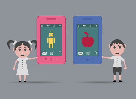 operating system: children with apple and android smartphone Illustration