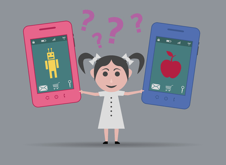 operating system: girl torn between apple or android smartphone