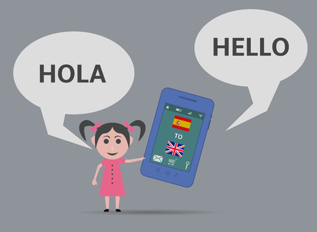 bilingual: girl with smartphone voice language translator