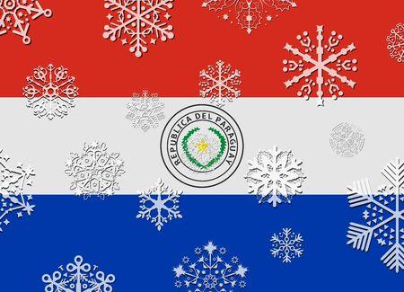 bandera de paraguay: bandera de Paraguay con copos de nieve