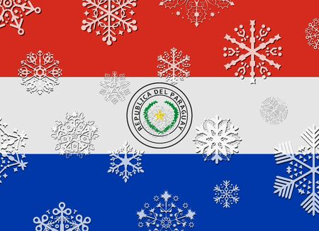 paraguay: paraguay flag with snowflakes