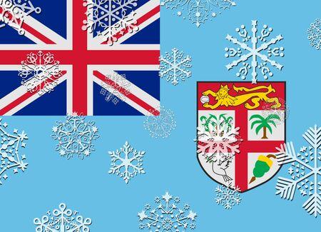 fiji: fiji flag with snowflakes