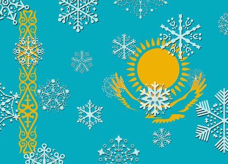 kazakhstan: kazakhstan flag with snowflakes