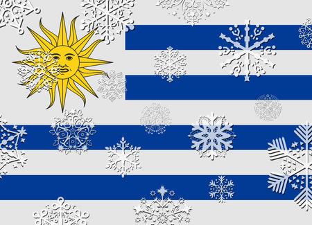 bandera de uruguay: bandera de Uruguay con los copos de nieve