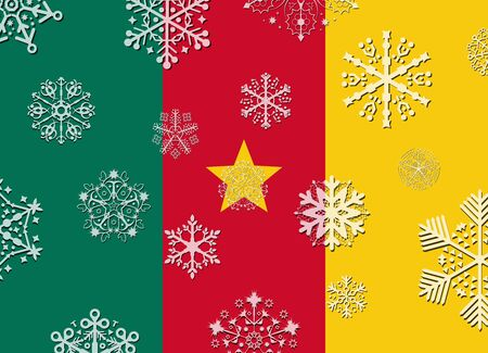cameroon: cameroon flag with snowflakes