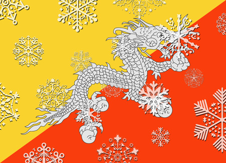 bhutan: bhutan flag with snowflakes Illustration