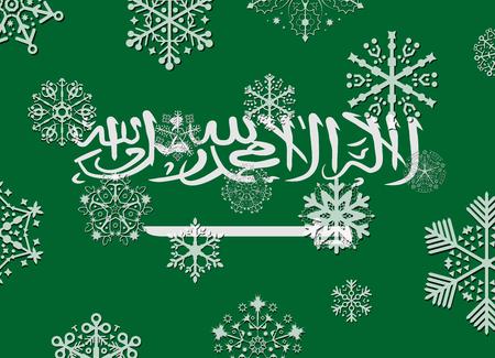 arabia: saudi arabia flag with snowflakes Illustration