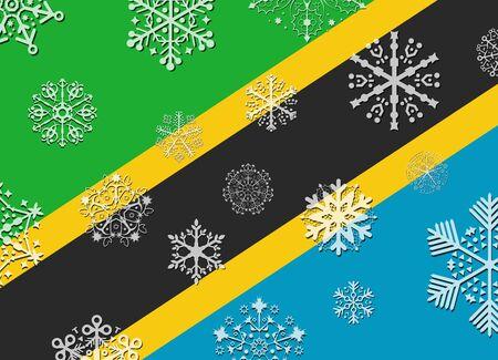 tanzania: tanzania flag with snowflakes Illustration