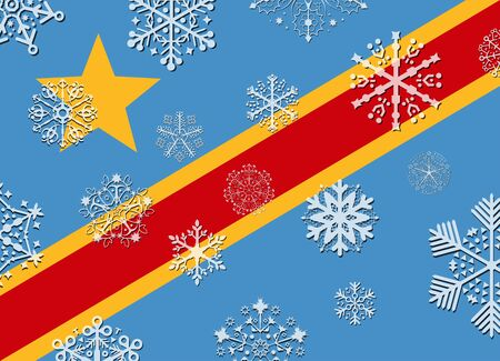 congo: congo flag with snowflakes Illustration