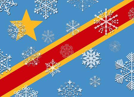 Congo: congo flag with snowflakes Illustration