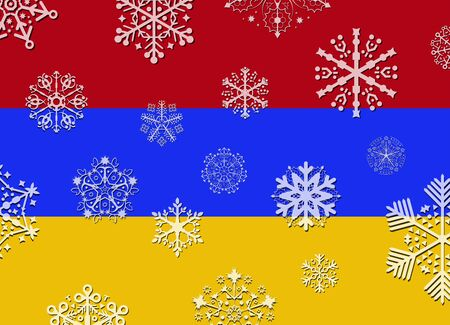 armenia: armenia flag with snowflakes