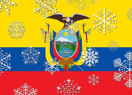ecuador: ecuador flag with snowflakes