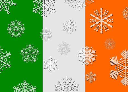 bandera irlanda: bandera de irlanda con copos de nieve