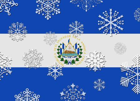 bandera de el salvador: bandera de El Salvador con copos de nieve Vectores