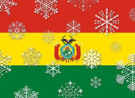 bandera bolivia: bandera de Bolivia con copos de nieve