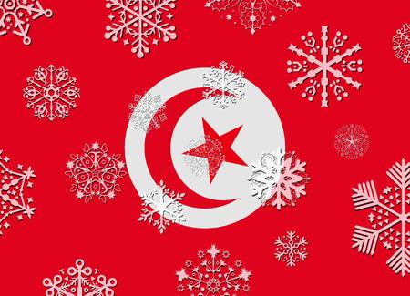 tunisia: tunisia flag with snowflakes