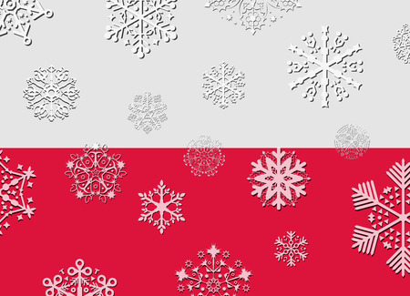 poland flag: poland flag with snowflakes