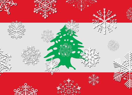 lebanon: lebanon flag with snowflakes