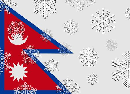 nepal: nepal flag with snowflakes