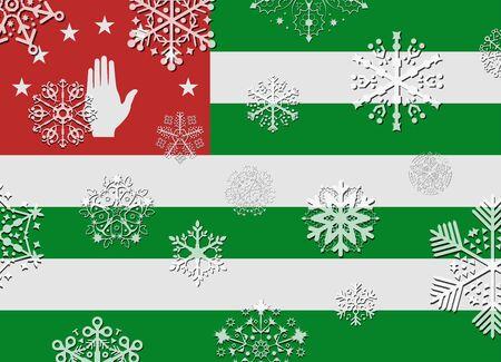 abkhazia: abkhazia flag with snowflakes
