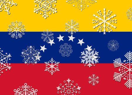 bandera de venezuela: bandera de Venezuela con copos de nieve Vectores