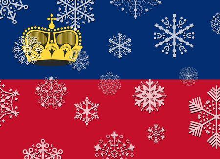 liechtenstein: liechtenstein flag with snowflakes