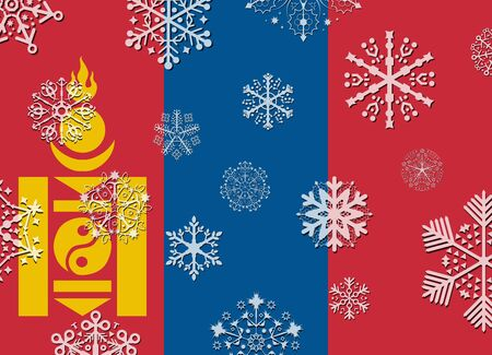 mongolia: mongolia flag with snowflakes Illustration