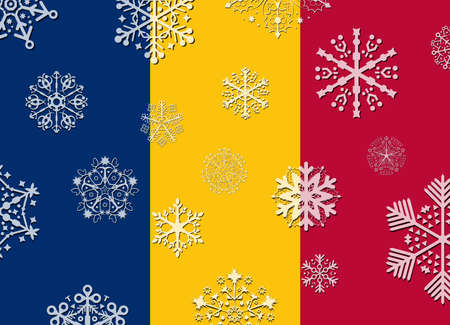 tchad: chad flag with snowflakes