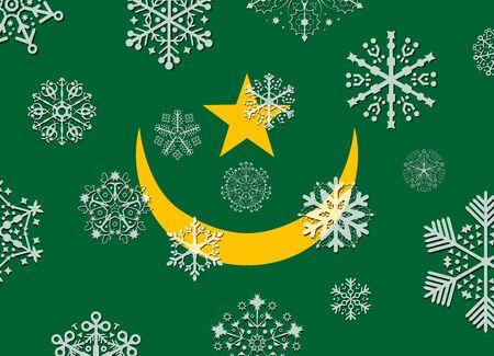mauritania: mauritania flag with snowflakes