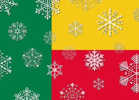 benin: benin flag with snowflakes