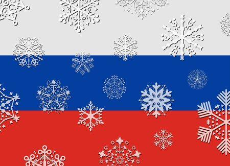bandera rusia: Bandera de Rusia con los copos de nieve