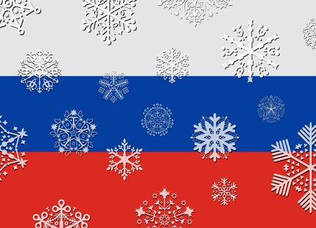 russia flag: russia flag with snowflakes
