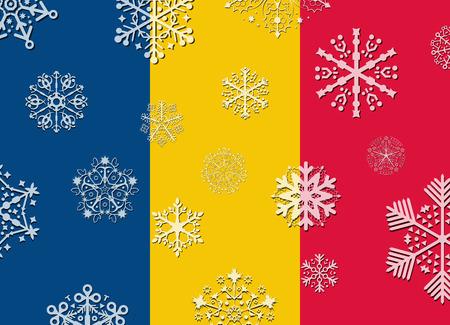 romania flag: romania flag with snowflakes Illustration