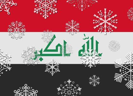 iraq: iraq flag with snowflakes