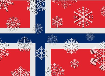norway flag: norway flag with snowflakes Illustration
