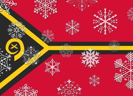 vanuatu: vanuatu flag with snowflakes