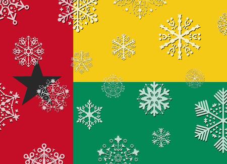 guinea bissau: guinea bissau flag with snowflakes Illustration