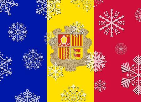 andorra: andorra flag with snowflakes Illustration