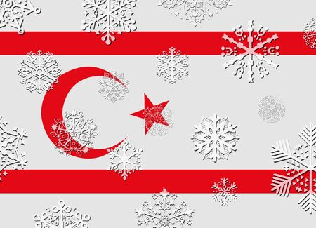 northern: northern cyprus flag with snowflakes Illustration