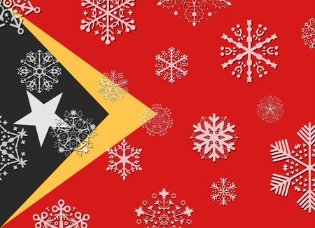 timor: east timor flag with snowflakes