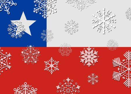 flag of chile: bandera de Chile con copos de nieve Vectores