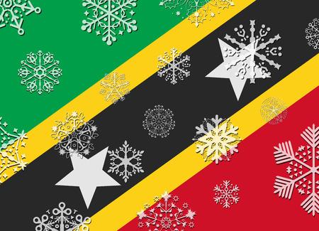and saint: saint kitts flag with snowflakes