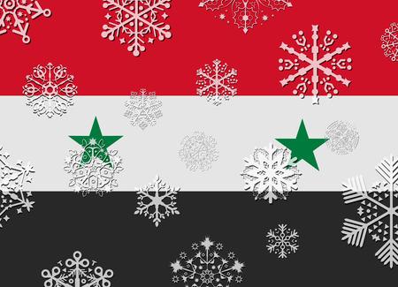 syria: syria flag with snowflakes Illustration
