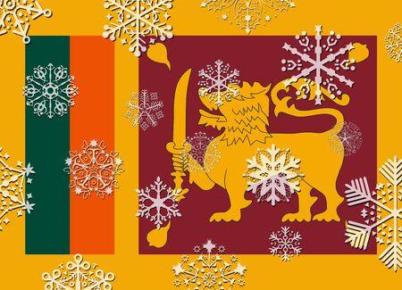 sri lanka: sri lanka flag with snowflakes Illustration