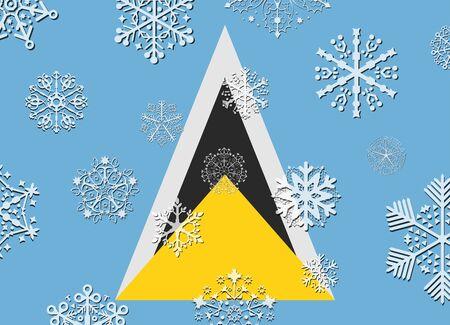 lucia: saint lucia flag with snowflakes