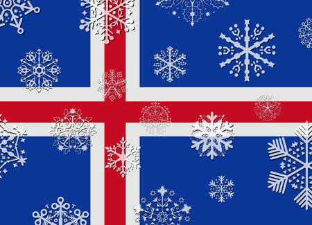 iceland: iceland flag with snowflakes