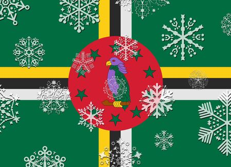 dominica: dominica flag with snowflakes