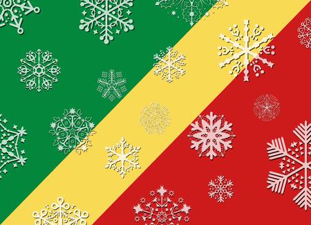 republic of the congo: republic congo flag with snowflakes