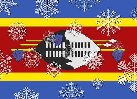 swaziland: swaziland flag with snowflakes Illustration